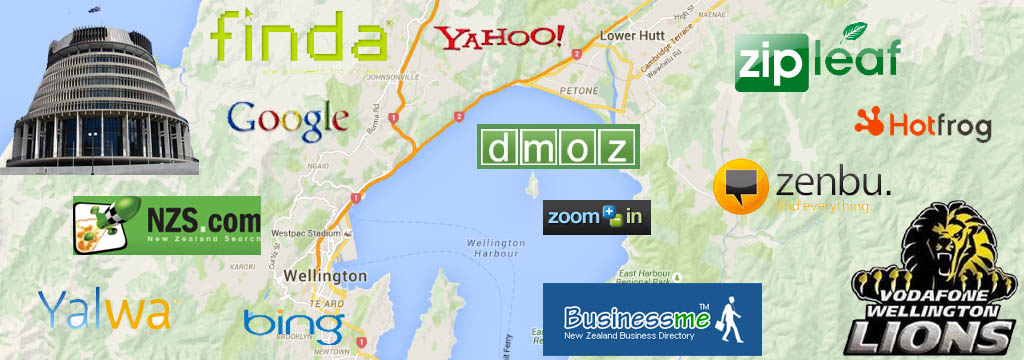 Wellington map with icons, Worksites Websites